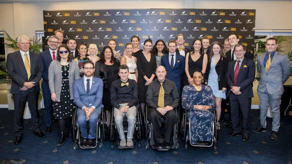 Group of Paralympians Para athletes and Prime Minister Jacinda Ardern